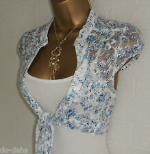 JANE NORMAN Ice Blue White Ditsy Rose Floral Lace Shrug + Vest Top Combo Size 10