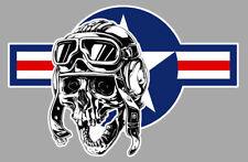 TETE DE MORT DRAPEAU USA USAF UNITED STATES BIKER RIDER 9cm STICKER MOTO SC018G