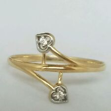 2 tone 14K Yellow gold love 2 Hearts ring S 7