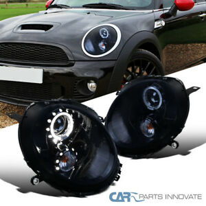 For 07-13 Mini Cooper Glossy Black LED Halo Projector Headlights Signal Lamps