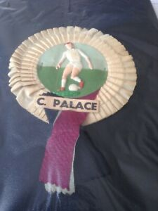 EARLY  1960s   FOOTBALL ROSETTE  -  CRYSTAL PALACE  FC   WITH  PLAYER  IN CENTRE