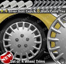 "13"" Silver MultiSpoke Set of 4 Car Wheel Trims Cap Cover 4 Dust Caps 8 Cable Tie"