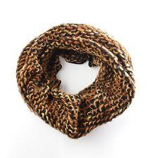 Reversible Black Cream Brown Snood Tube Scarf Infinity Loop Knitted Loose Knit
