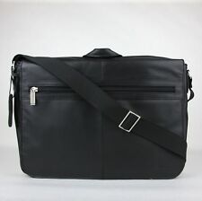 "Kenneth Cole Reaction ""Mess-ing In Action"" Black Leather Messenger Bag 529505"