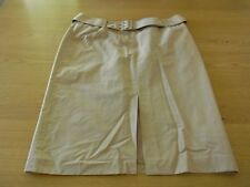 Ladies Country Road Beige Gold Lined Belt Work Office Business Skirt Size 12
