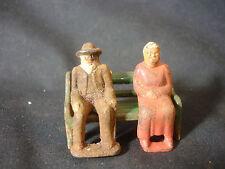 Vtg Cast Iron Elderly Man Woman Sitting On Bench Train Garden Figure Toy