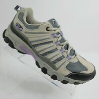 Fila Day Hiker Suede Trail Hiking Running Shoes Beige Purple Gray Womens Size 11