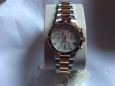 New Bulova Two Tone Ladies Diamond Chronograph Watch With Mother of Pearl Dial