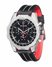 DeTomaso AIRBREAKER Mens Watch Chronograph GMT Stainless Steel Silver Black