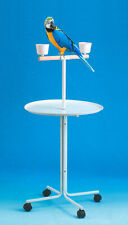 46-Inch Large Parrot Play Perch Stand Feeder Bowls Metal Tray Rolling Wheels