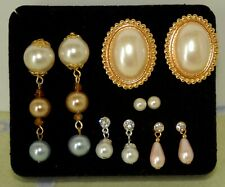 5 Pairs Faux Pearl Accents Dangle/Post Pierced Earrings