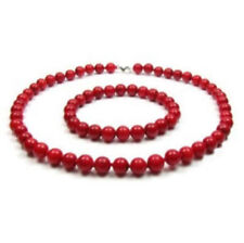 8mm Real Japan Red Coral Round Beads Jewelry Necklace Bracelet Set Grade  JN862