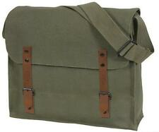 NEW CANVAS MESSENGER BAG ~ MEDIC STYLE ~ OLIVE & BROWN LEATHER CLOSURE STRAPS