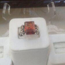 Sterling Silver - Emerald Cutt Fire Opal 10 grams Ring Size 9.5 EUC