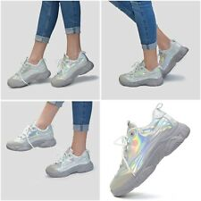 Damen Sneaker Laufschuhe Sportschuhe Freizeit Schuhe Hologramm Blogger Style