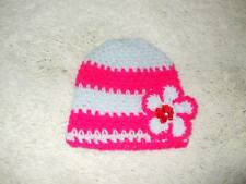 NEWBORN - 3 MONTH BABY MULTI COLOUR BEANIE HAT WITH FLOWER - HAND MADE CROCHET