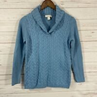 Coldwater Creek Shawl Collar Cable/Ribbed Knit Sweater Medium Blue Long Sleeve