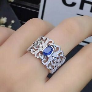 Natural Blue Sapphire Gemstone With 925 Sterling Silver Ring For Men's #35