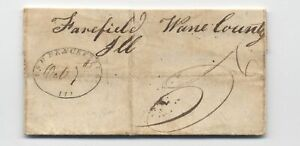 1847 Lawrenceville IL oval handstamp stampless letter to Fairfield [5806.624]