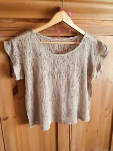 Gold Sparkle Knit Crochet Top Cropped Cute T Shirt
