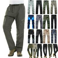 Mens Sport Soft Shell Trousers Camping Hiking Waterproof Pants Tactical Outdoor