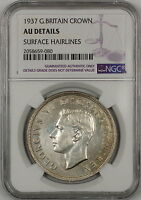 1937 Great Britain Silver Crown Coin NGC AU Details Surface Hairlines