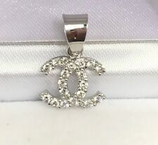 18k Solid White Gold Cute Small Charm/ Pendant With White Stones. 1.27 Grams