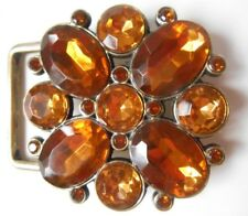 Belt Buckle Yellow Brown Flower Crystal Faceted Rhinestones Costume Jewelry