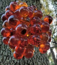 Vintage lucite acrylic swag light amber grape cluster hanging lamp hand made