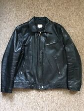 Calvin Klein Jeans Vintage Black Leather Zip Jacket Size XL Made in Italy