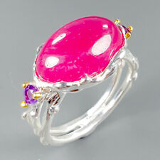 Vintage SET Natural Ruby 925 Sterling Silver Ring Size 6.25/R113032