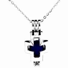 K513 Silver Alloy 30mm Blank Cross Religious Beads Cage Stainless Necklace 18""