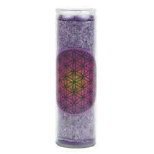 Stearin Kerze Blume des Lebens aus Glas in violett Höhe 21 cm