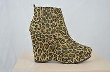 Bcbgeneration Women Size 5.5 M Vance2 Sesame/Black Leopard Suede Booties g529