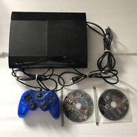 Sony PS3 Super Slim Black Console Bundle 500GB w/ 2 Games & D/L Games TESTED