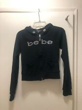 9c26a7f3015 BEBE BLACK ZIP UP HOODED JACKET WITH SILVER STONES SIZE MEDIUM