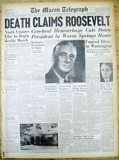 <1945 MACON GEORGIA newspaper FRANKLIN ROOSEVELT DEAD Harry Truman President