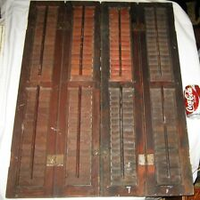 4 PANEL WINDOW SET SM. ANTIQUE WOOD SHUTTERS COUNTRY PRIMITIVE HOME HARDWARE USA