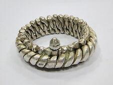 Vintage antique ethnic tribal old silver flexible chain bracelet bangle handmade
