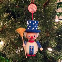 "Steinbach German Wooden Christmas Ornament Snowman w/Broom 3 1/4""H Rare"