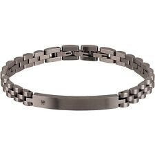 BRACCIALE BREIL BLACK DIAMOND UOMO tj2400 BRACELET DIAMANTE piastra acciaio NERO