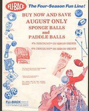 VINTAGE AD SHEET #1592 -  FLI-BACK SPONGE BALLS and PADDLE BALL