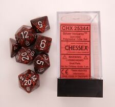 Chessex 7 Dice Set Speckled Silver Volcano CHX 25344 for D&D & D20
