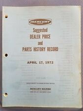 Vintage Mercury Marine Dealer Price and Price History Record - 1972 - Original
