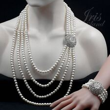 White Pearl Crystal Beaded Strand/String Necklace Bracelet Jewelry Set 02123