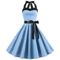 Women Polka Dot vintage Retro Swing Evening Dresses halter Dress Sleeveless