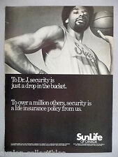 Julius Erving - Dr. J for SunLife Insurance PRINT AD - 1978 ~ Sun Life Assurance
