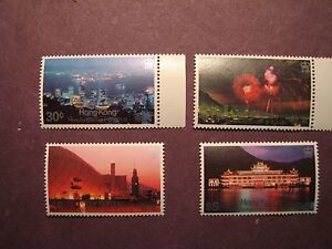 Hong Kong Scott# 415-18 Views by Night 1983 MNH C35