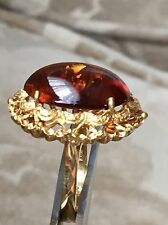 Vintage 18K YELLOW GOLD BAND RING WITH CABOCHON OVAL AMBER MADE IN ITALY 8.0g