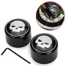 Front Axle Skull Nut Cover Cap For Harley Softail Dyna V-Rod Sportster 883 1200